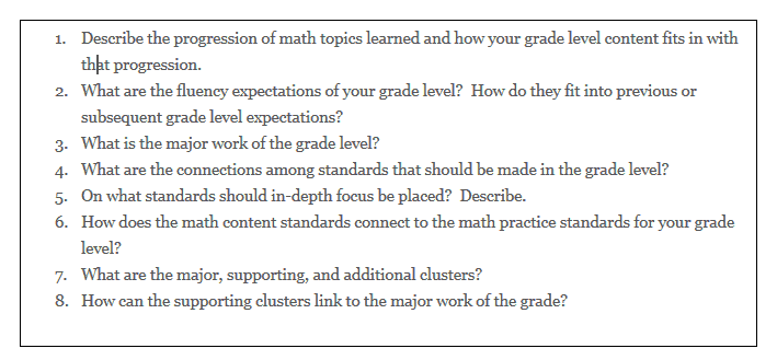 Guiding questions from an articulation meeting held for teachers of grades 3-5