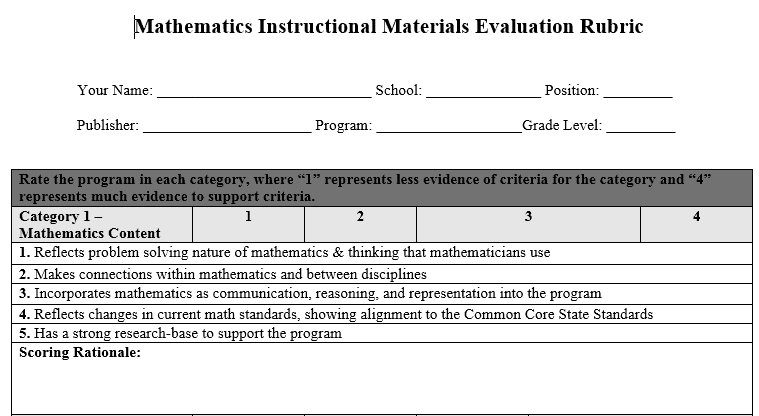 One category for evaluation of instructional materials