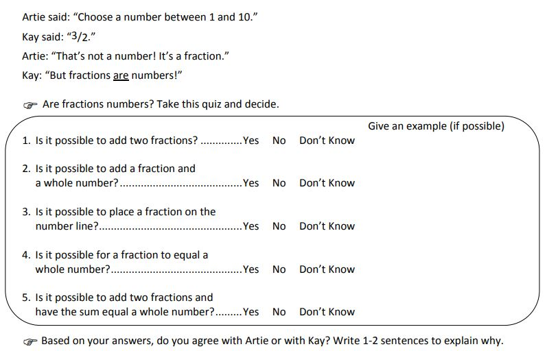 Are Fractions Numbers - Student Task