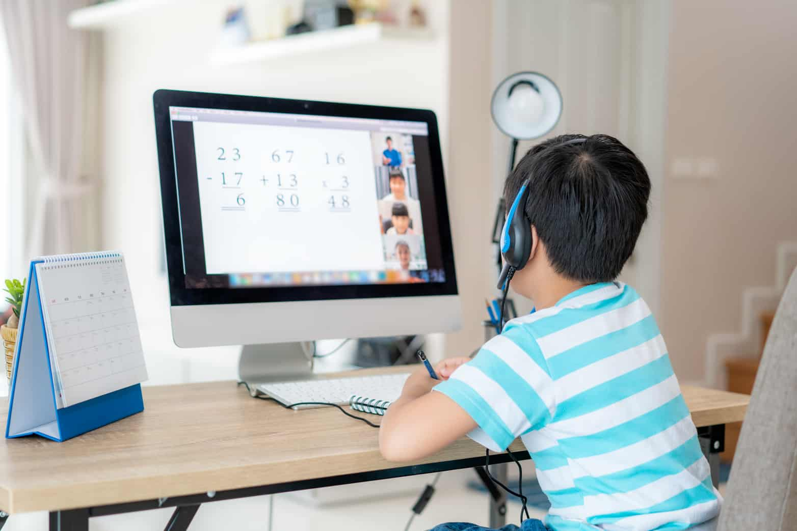 Student participating in a remote math classroom.