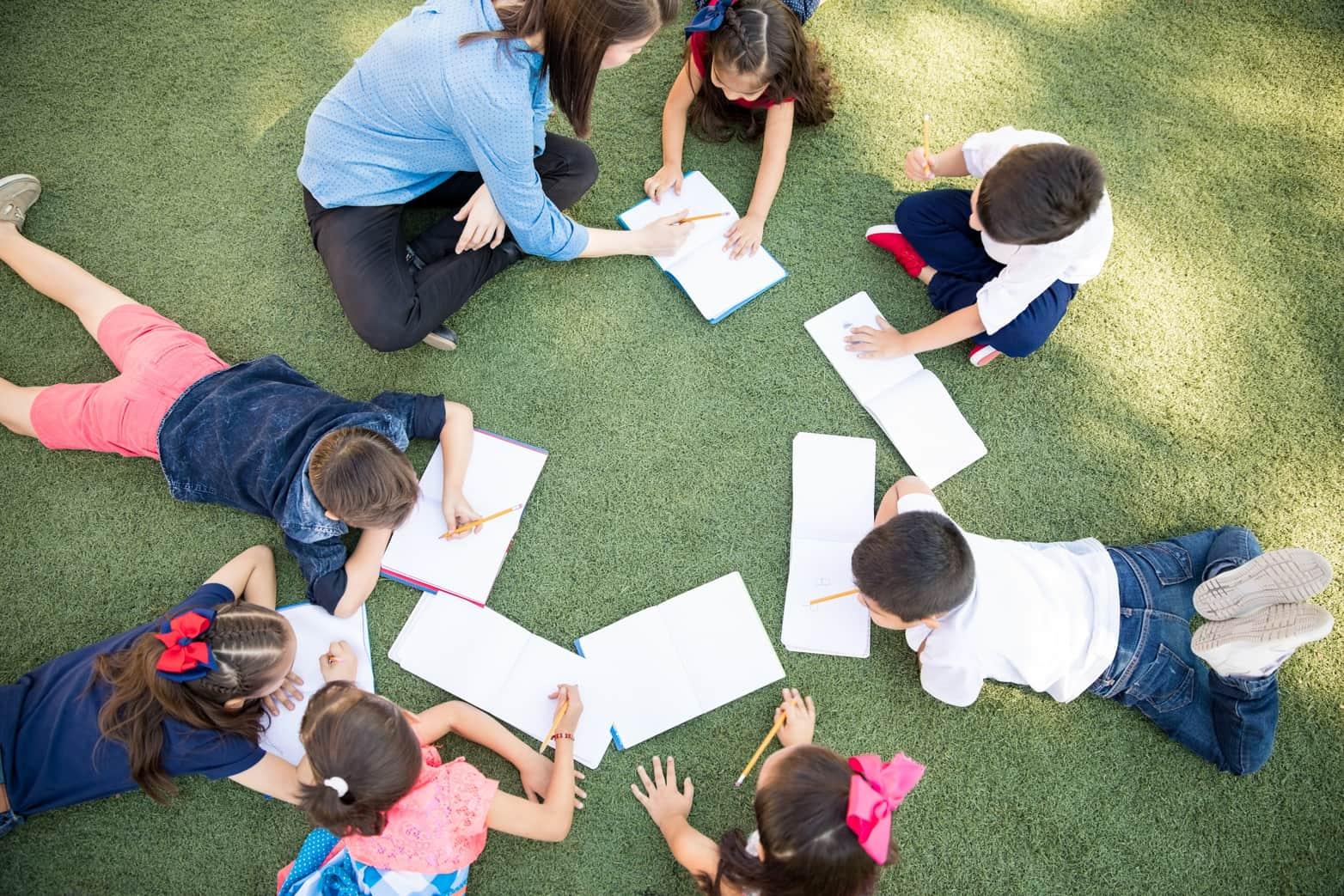 Kindergarten students working on vocabulary